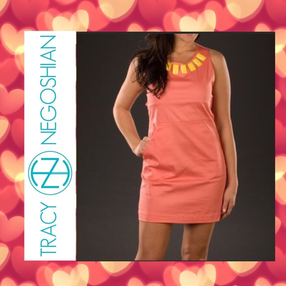 Tracy Negoshian Dresses & Skirts - Salmon shift dress with yellow beaded neckline